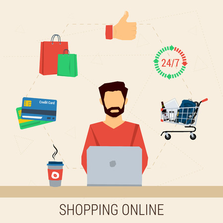 conveniently: Vector concept shopping online. Man with laptop shopping online. Cup of coffee, cart contents, credit cards, shopping bags, around the clock. Flat style. Web infographics Illustration