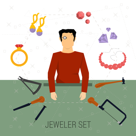 rasp: Vector icons set of jeweler profession. Man in magnifying glasses. Around him the tools - a hammer, compass, rasp, saw and jewelry - ring with stone, earrings, bead, gems. Flat style
