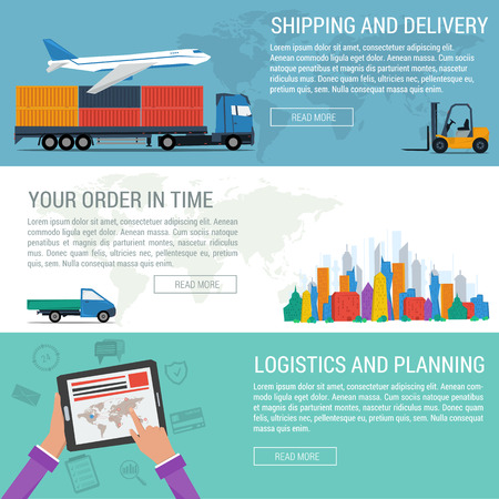 near: Three banners logistic, planning delivery, shipping. World map background. City, truck, plane, hand with tablet, loader, web elements in flat style. Vector concept of logistics. Web infographics Illustration