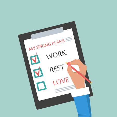 paper work: Womans hand with pencil making plans for springtime. Flat style. Vector concept illustration. The items on a sheet of paper - work, rest, love Illustration