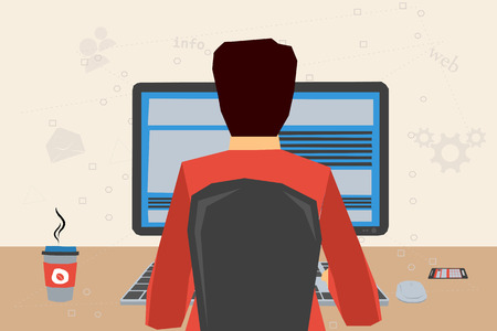 Man working on internet using computer and keyboard and drinking coffee. Vector concept work at home, freelance, efforts at work. Flat style. Web infographics. Back view 矢量图像