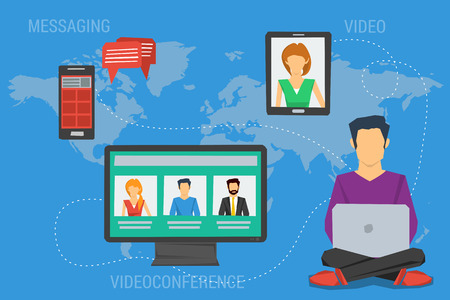 Vector concept Internet communication, webinar online training education, professional online lectures. Flat style. Messaging, video conversations, conference chat, distance learning. Web infographics