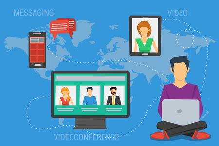 Wektor Internet koncepcji komunikacji, seminarium edukacja szkolenia online, profesjonalne wykłady on-line. Płaski stylu. Wiadomości, rozmowy wideo, konferencji czat, kształcenie na odległość. infografiki sieci