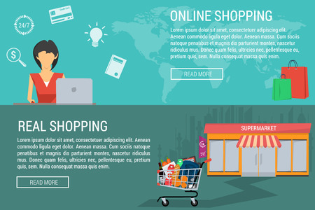 supermercado: Vectorial concepto de compras en línea y real. Mujer con el carro portátil en línea. Carretilla de las compras en el supermercado. estilo plano. infografía web. banderas horizontales