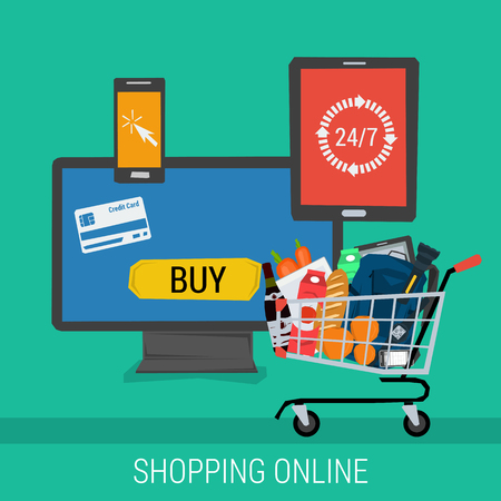 conveniently: Vector concept online shopping and payment. Computer tablet and smartphone with the possibility to carry out payments and buy goods. Flat style. Web infographics