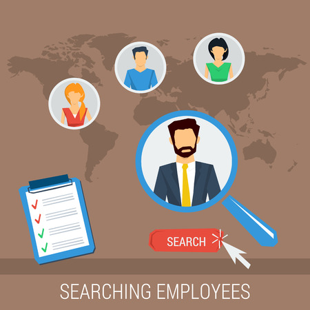 Vector concept searching employees. Recruitment hand zoom magnifying glass picking business person with list of requirements. Flat style. Web infographics
