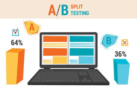 concetto di vettore di split test confronto ab. Computer portatile con grafica, percentuali e puntatori buoni e cattivi. stile piatto. infografica Web