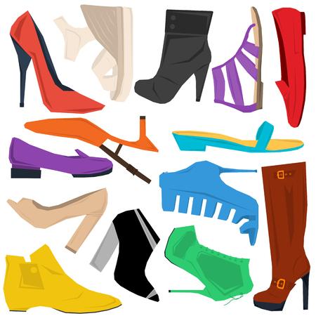 femininity: Set of spring and summer women shoes in flat style isolated on white. Fashion design, elegance, femininity. Vector illustration