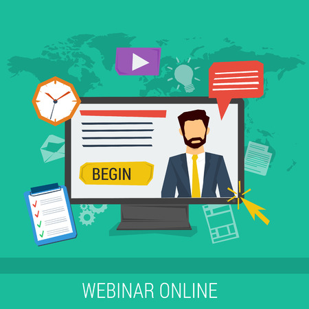 Vector concept online webinar, e-learning, professional lectures in internet, online education. Businessman on computer monitor with different web elements around. Flat style. Web infographics  イラスト・ベクター素材