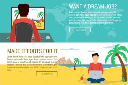 procrastination: Two horizontal banners - man dreaming about better work place, make efforts  to reach goal. Vector concept procrastination and efforts. Flat style. Web infographics