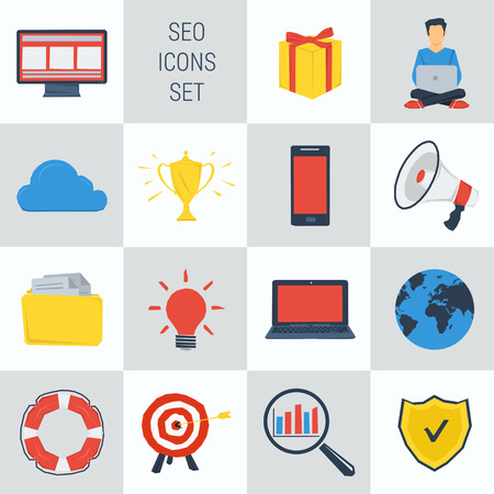 seo: Vector set 15 SEO icons on square form. Web infographics Illustration