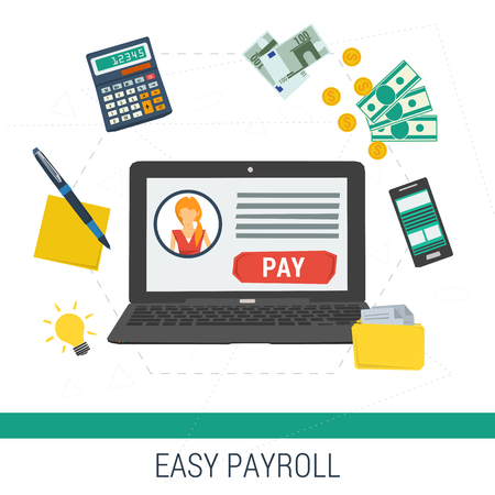Vector concept easy online payroll operation. Laptop with account and button pay calculator money files on white background. Flat style. Web infographics Stock Illustratie