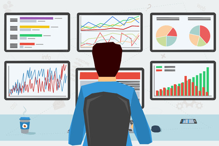Man working on internet using computer and several monitors and drinking coffee. Vector concept work at home, freelance, efforts at work, programming. Flat style. Web infographics. Back view
