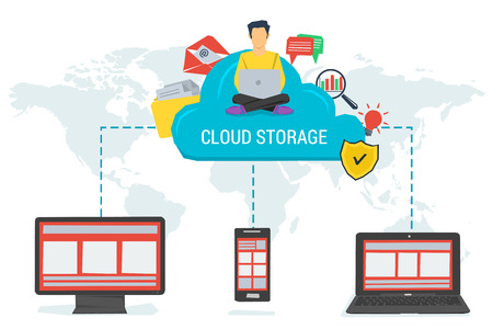 storage device: Vector concept cloud storage and safe data in internet. Various data in cloud storage with easy access to any device in the world. Flat style. Web infographics Illustration