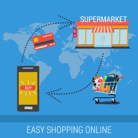 conveniently: Vector concept easy shopping online. Infographics of mobile payment and fast delivery of goods. Credit card and shopping trolley. Flat style. Web infographics Illustration