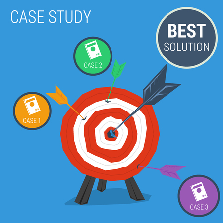 Vector concept case study best solution. Target with arrow four option cases. Flat style. Web infographics