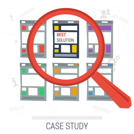 study icon: Vector concept case study. Magnifier search across multiple templates with one is best solution. Words problem solution research results on background. Flat style. Web infographics