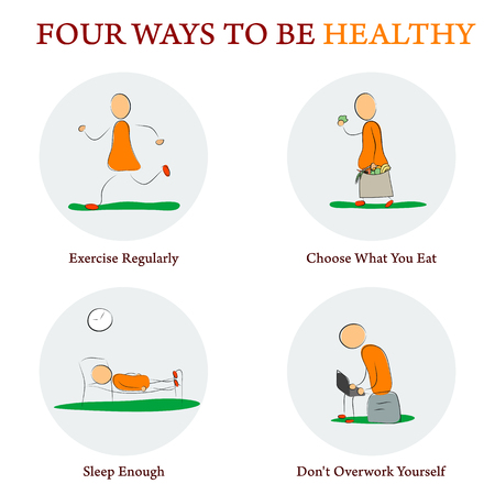 Drawing Doodle Style Infographics. Four ways to make your health better. Concept for education, medicine, training courses Illustration