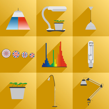 lighting button: Vector illustration. Flat style. Set icon LED equipment phyto light for plants