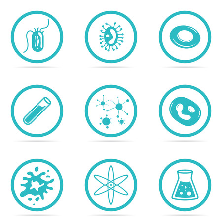 harmful: Vector Illustration Icon Set Helpful and Harmful Cells Virus Blood Cells and bacteria