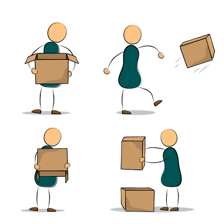 frustration: Vector illustration. Drawing. Set of cartoon office worker in various poses with cardboard boxes. The concept of frustration and failure Illustration