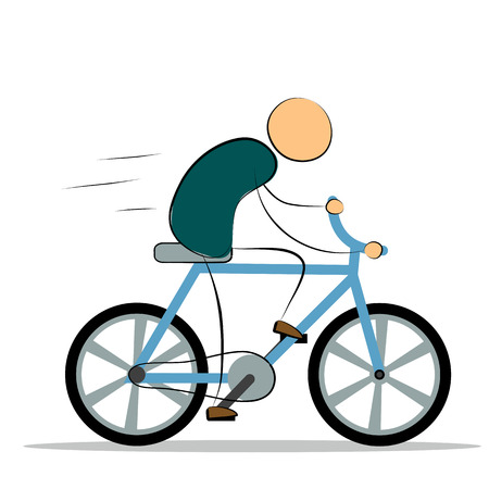 rapidity: Cartoon man riding a bike.  design element .Vector illustration. Concept of movement and balance for your design