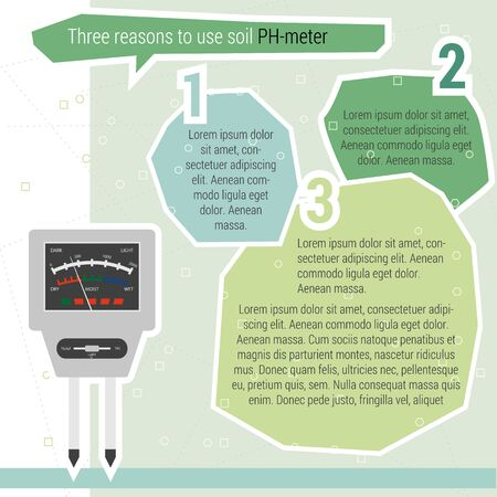 agro: Vector infographic three reasons use PH meter with statistics