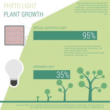 led: Comparison phyto and ordynary light. Vector infographic elements LED lamp with statistics Illustration
