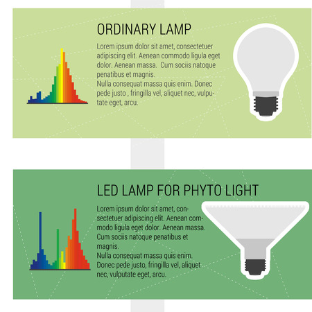 agro: Features led and ordynary lamps. Vector infographic elements LED lamp with statistics and graph the light wave