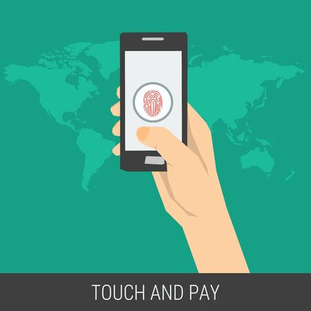 safe payment: Vector concept mobile payment using fingerprint identification. Safe data and safe using a smartphone. Flat style. Web infographics