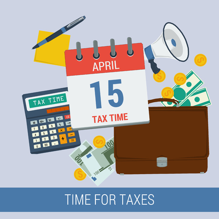 payday: Vector concept time for pay taxes. Icon calendar April 15, calculator, money, purse, reminder, pen with paper. Flat style. Web infographics Illustration
