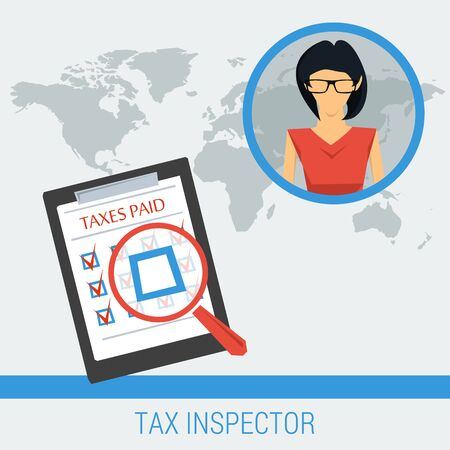 limitations: Vector concept work of tax inspector finding not paid taxes. Woman and list of taxes on globalworld map background. Flat style. Web infographics