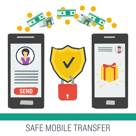 transfering: Vector concept safe mobile money transfering. Shield and lock between the two smartphones with money transfer on white background. Flat style. Web infographics Illustration