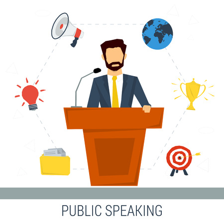 speaking: Vector concept public speaking and business conference. Man orator speaking from tribune with web elements on background. Flat style. Web infographics Illustration