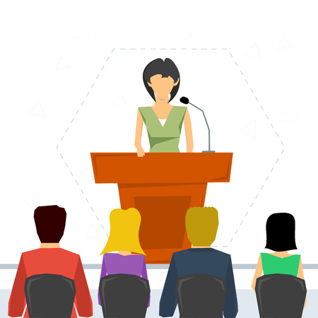 orator: Vector concept public speaking and business conference. Woman orator speaking from tribune and listeners in auditorium on chairs. Flat style. Web infographics