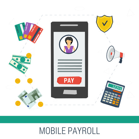 bank records: Vector concept easy mobile online payroll operation. Smartphone with girl account and button pay calculator money credit cards on white background. Flat style. Web infographics Illustration