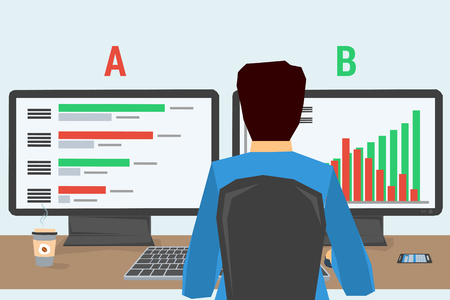 Man working on internet using computer and two monitors and drinking coffee. Vector concept work at home, freelance, split testing a-b comparison, programming. Flat style. Web infographics. Back view