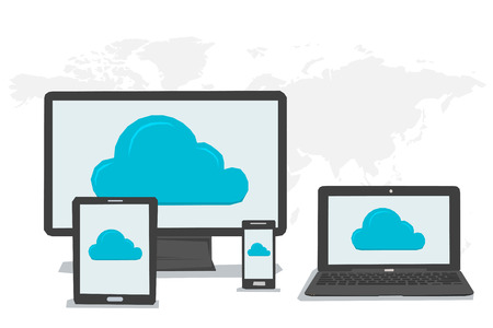storage device: Vector concept cloud storage and safe data in internet. Symbol of cloud storage on Various data in cloud storage on the screen of computer tablet laptop smartphone. Flat style. Web infographics