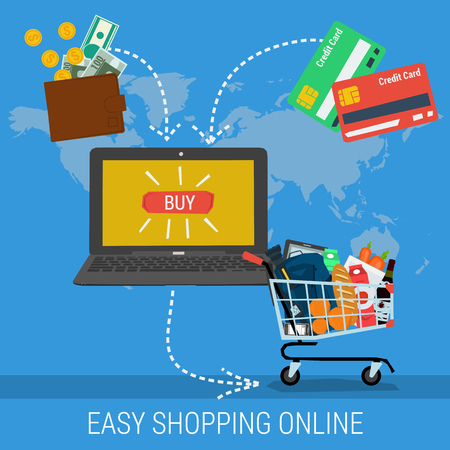 conveniently: Vector concept easy methods shopping online. Infographics of online payment and fast delivery of goods. Credit card, cash and shopping trolley with a laptop. Flat style. Web infographics