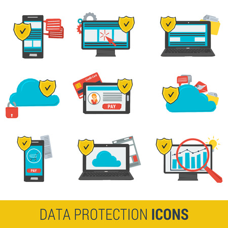 protection devices: Icon set concept data protection and safe work in internet. Nine icons protective shield on on various devices computer, online financial transactions,  cloud storage. Flat style. Web infographics