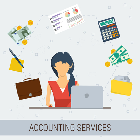 회계 서비스의 벡터 개념입니다. 직장, 돈, 계산기, 문서, 그래픽에서 여성 회계사. 플랫 스타일. 고립 된 웹 인포 그래픽