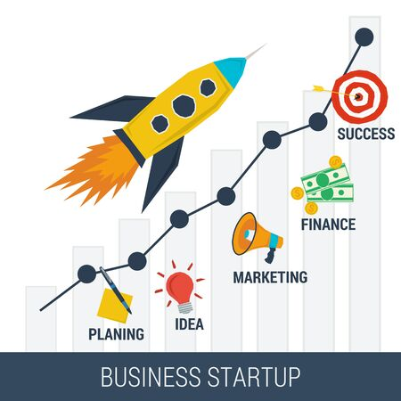 estate planning: Business startup concept.Flat style. Web info graphic. Cartoon rocket pulls up a growth graph surrounded by business steps - planning, idea, marketing, finance, success