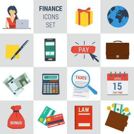 cash book: set 15 accounting finance icons on square form. Female accountant, money calculator, documentation book, calendar, bonus cash, smartphone. Flat style. Isolated web info graphic