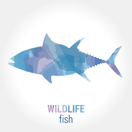 pisciculture: Wildlife banner on white background. Colored watercolor silhouette fish tuna.  Poster for pisciculture, journey, park culture. Illustration