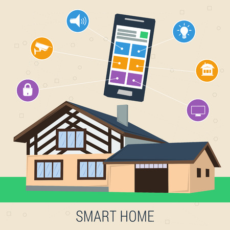 control panel: concept smart house with control panel. Modern  technology system with centralized control panel. Flat style. Web infographics Illustration