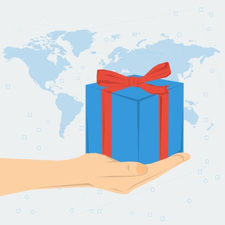 knotted: concept present or bonus. Womans hand with blue gift box knotted with ribbon on world map background. Flat style. Web infographics Illustration