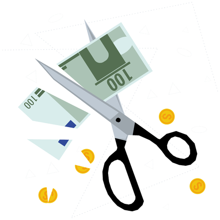 Scissors cutting banknote and coins - concept of budget cuts, financial crisis, debt and bankruptcy.
