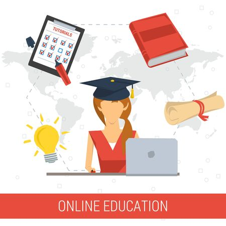 student computer: Vector concept online education. Studying female student in graduate cap with computer on world map background. Book, lamp, lessons list, charter. Flat style. Isolated web infographic