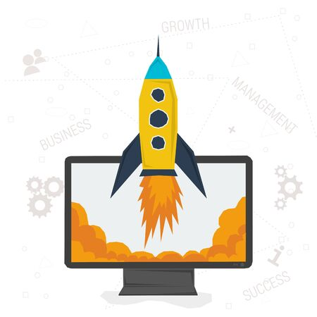 fast computer: Business start up concept. Vector illustration. Flat style. Web infographic. Cartoon rocket rises from the computer. Concept fast business growth on white background with web elements Illustration