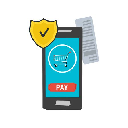 protective shield: Icon mobile safe payment concept. Protective shield on smartphone with service online payment. Financial transactions, online shopping. Flat style. Web infographics Illustration